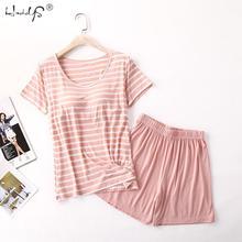 M 2XL de Modal para mujer, pijama de manga corta con almohadilla en el pecho, sujetador libre, pantalones cortos holgados de rayas de talla grande, traje para el hogar