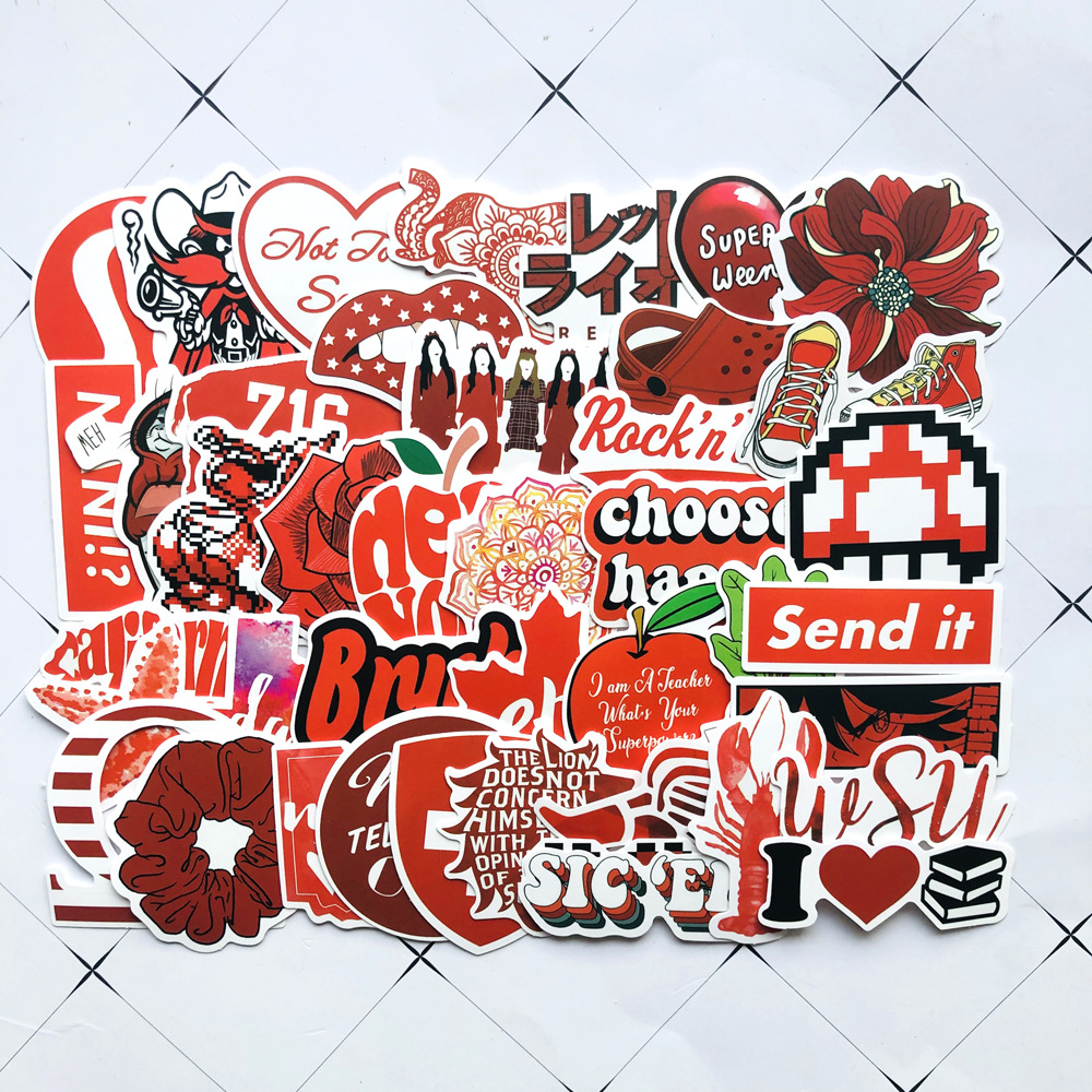 50pcs Red VSCO Girls Small Fresh Sticker Home Wall Decor Suitcase Skateboard Luggage Laptop Phone Hydro Flask Stickers for Teen