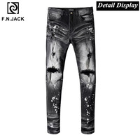 F.N.JACK Black jeans Mens Jean Hip hop Slim fit jeans for men Casual Dot Streetwear Mens ripped jeans Denim Pants Men fashions