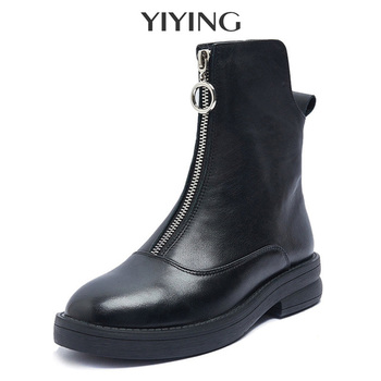 Ankle Boots Genuine Leather For Women 2020 Autumn New Women Boots Flat British Style Boots Woman Front Zipper Short Boots Female 2020 autumn new lace up platform martin boots female british style short boots female leather boots female leather female boots