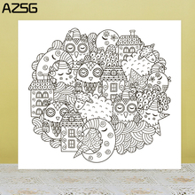 ZhuoAng Moon and house Clear Stamps For DIY Scrapbooking/Card Making Decorative Silicon Stamp Crafts