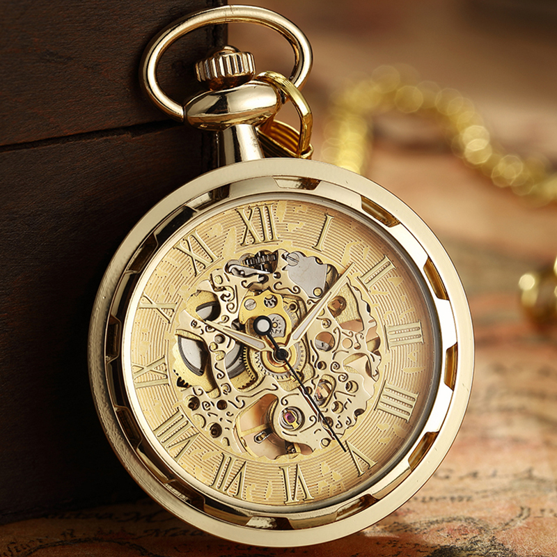 Retro Steampunk Skeleton Mechanical Fob Pocket Watch Roman Numerals Clock Necklace Pendant Hand-winding Men Women Chain Gift