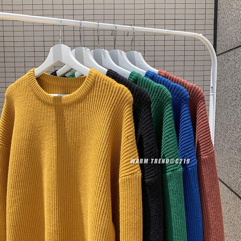 Winter Pullover Men 2019 Long Sleeve Autumn Winter Pullover Men Sweater Male Round Neck Streetwear Langarm Sweater Knitted Black