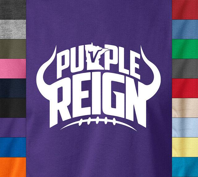 Vikings  PURPLE REIGN T-Shirt Football Vikes Fan Gear 100% Ringspun Tee