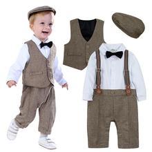 新生児ボーイズ服セット幼児紳士服ベビーフォーマルサスペンダーオーバーオール秋冬長袖ロンパース 3 個