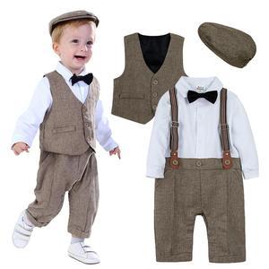 Image 1 - Neugeborenen Baby Jungen Kleidung Set Säuglings Gentleman Outfit Baby Formale Strumpf Overalls Herbst Winter Lange Hülsenspielanzug 3PCS