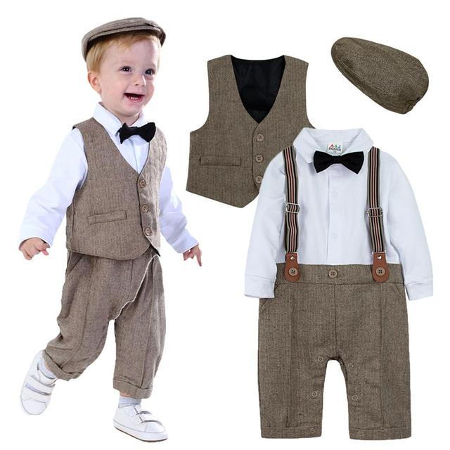 Neugeborenen Baby Jungen Kleidung Set Säuglings Gentleman Outfit Baby Formale Strumpf Overalls Herbst Winter Lange Hülsenspielanzug 3PCS