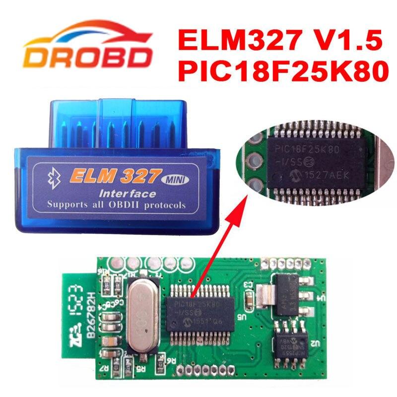Диагностический инструмент код читателя ELM327 V1.5 Мини ELM 327 V1.5 с PIC18F25K80 чип мини ELM327 V 1.5 Bluetooth OBD2 сканер