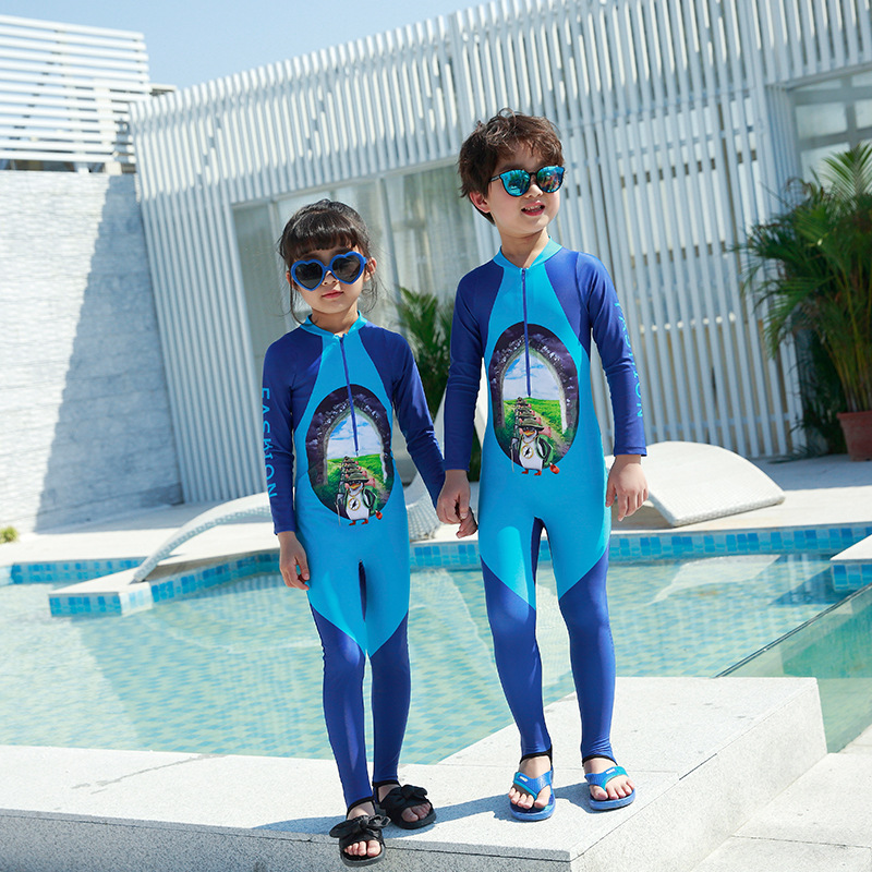 2018 New Style Hot Sales One-piece One-Piece Long Sleeve Trousers Front Zipper Small Stand Collar Cartoon Unisex KID'S Swimwear