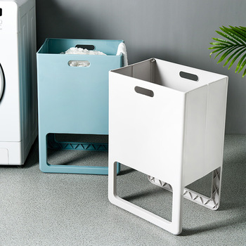 Plastic Dirty Laundry Basket Folding Clothes Storage Household Hamper for Bedroom Bathroom Organizer Stand up