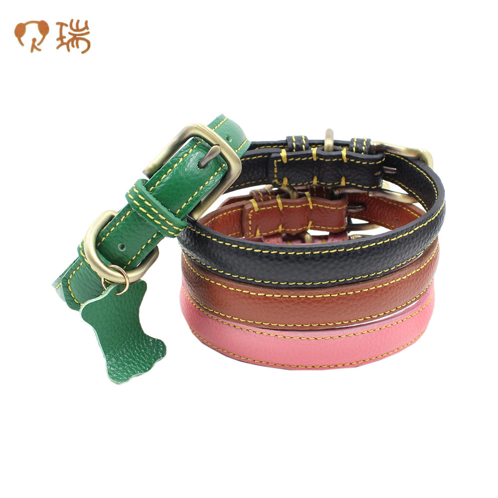 Berry New Style Double-Sided Embossed Leather Genuine Leather Pet Collar Brushed Bronze Dog Neck Ring Hangtag Bowtie