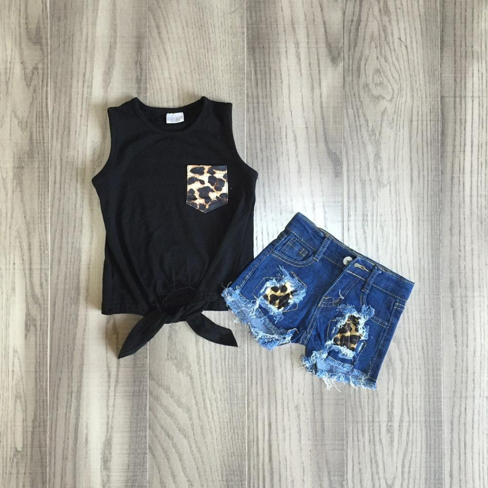 Baby Girls Vest Set  Girls Black Waiscoat With Leopard Jeans Shorts Baby Kids Boutique Outfits