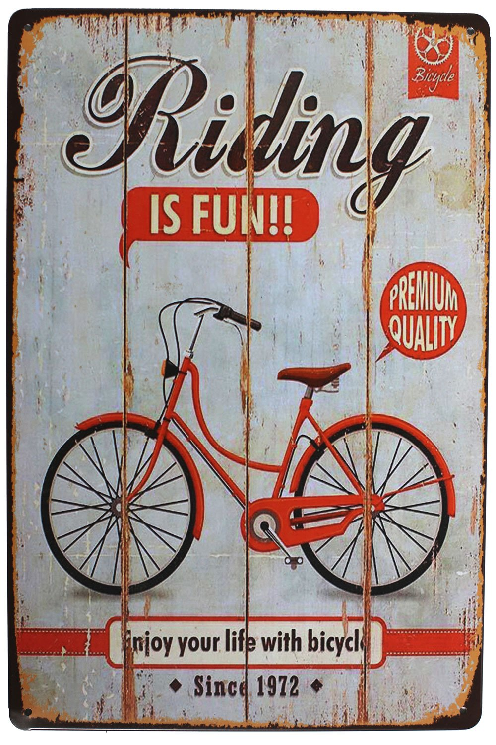 "Riding Is Fun Enjoy Your Life with Bicycle, Metal Tin Sign, Vintage Plaque Poster Garage Home Wall Decor, Size 8"" X 12"""