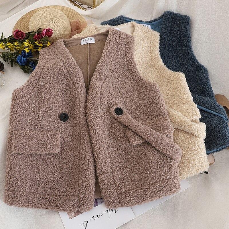 Autumn Winter Women V-Neck Short Jacket Casual Warm Velvet Lambswool Vest Coat Female Sleeveless Waistcoat Parka Outwear AB1720