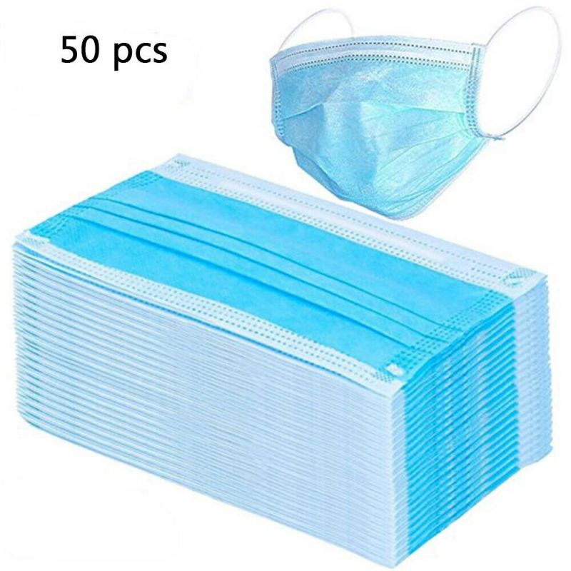 50pcs 3-Layer Masks Anti Dust Breathable Earloop Mouth Face Mask Comfortable Sanitary Mask Blue