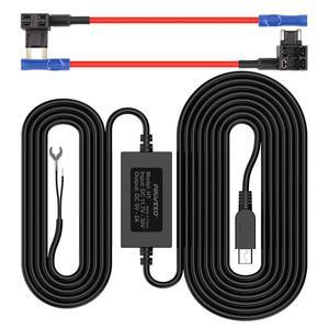 Pruveeo жесткий провод комплект для приборной камеры с 2 предохранителями кабель, мини USB порт, 12В до 5В, DC 12В-30В автомобильное зарядное устройств...
