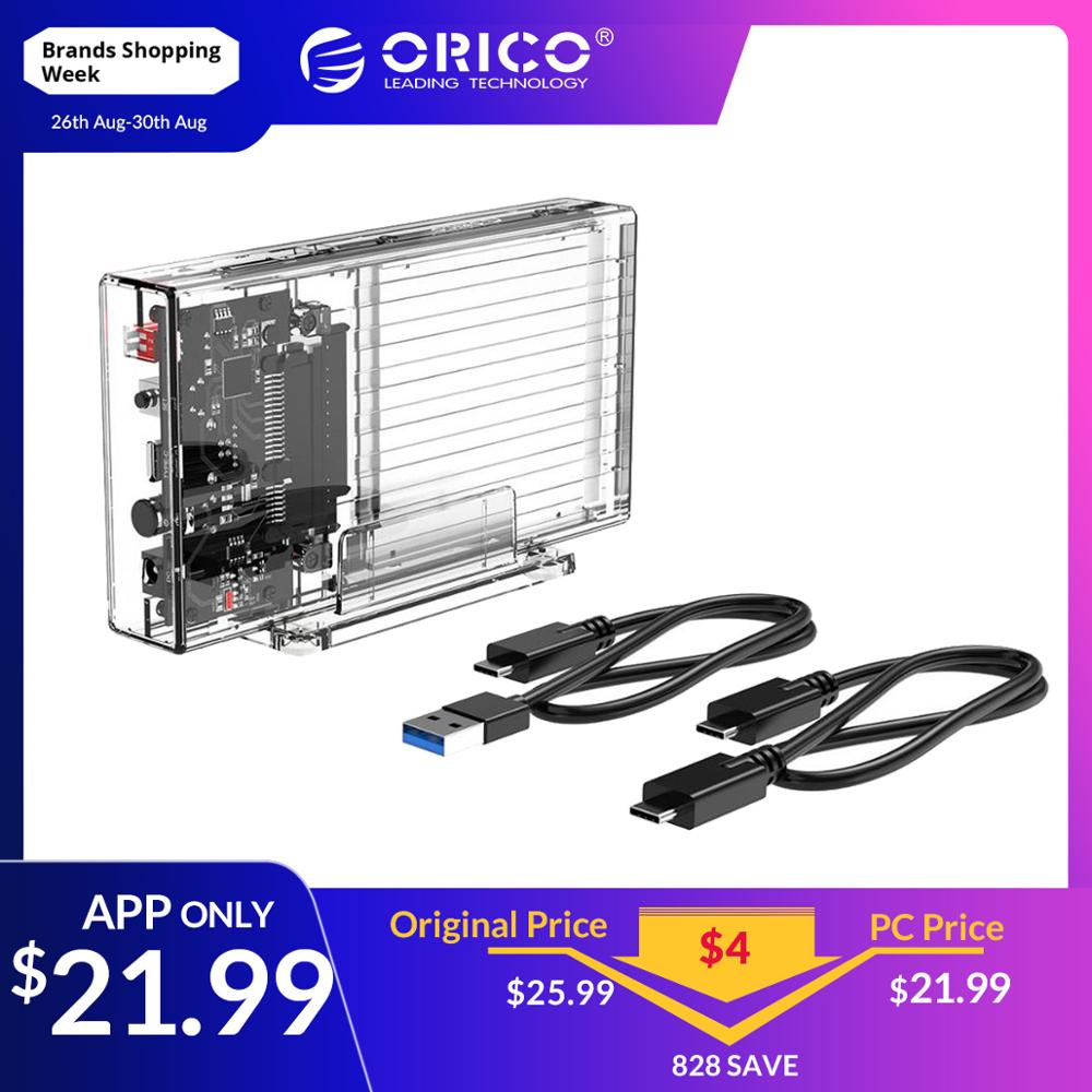 ORICO 2 5 inch Hard Drive Enclosure with RAID Transparent 10Gbps External  SSD Box SATA3 0 HDD Case Support For Windows/Mac/Linux