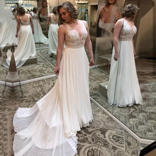 Eightale Beach Wedding Dress V-Neck Appliques Chiffon Plus Size A-Line Backless Gowns Custom Made Bridal Dresses 2020