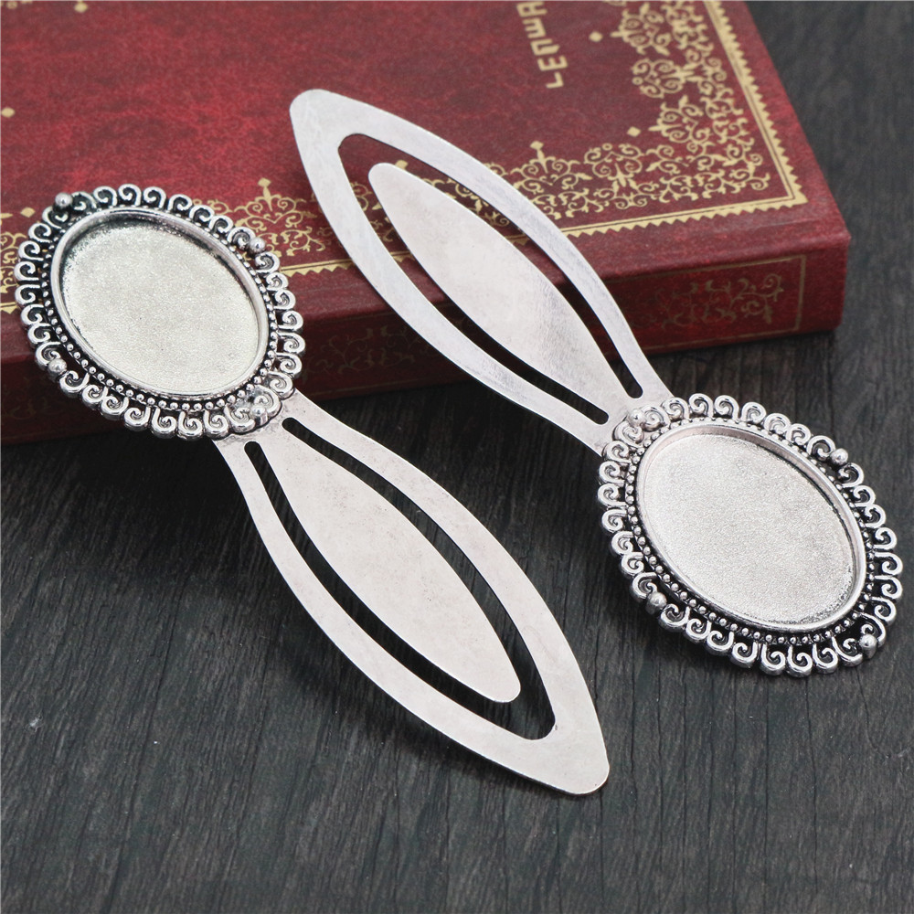 New Fashion 2pcs 18x25mm Inner Size Antique Silver Plated Simple Style Handmade Bookmark Cabochon Base  Cameo Setting (I1-26)