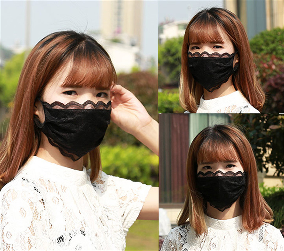 Spring Summer Lace Mask Women Outdoor Flower Embroidery Sunscreen Masks Cover Anti Dust Riding Mask Fog Breathable Face Mask