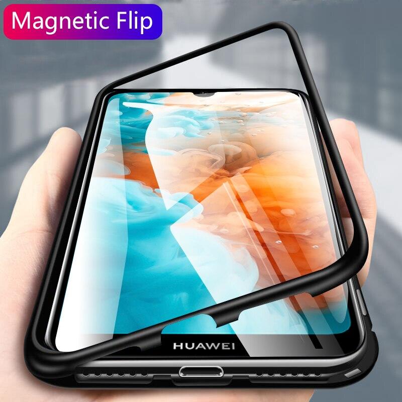 Caixa de vidro de adsorção magnética de metal para huawei honor 10 p30 p20 lite mate 20 pro nova 5 5i 3i 3 4 y9 prime p inteligente z 2019 capa