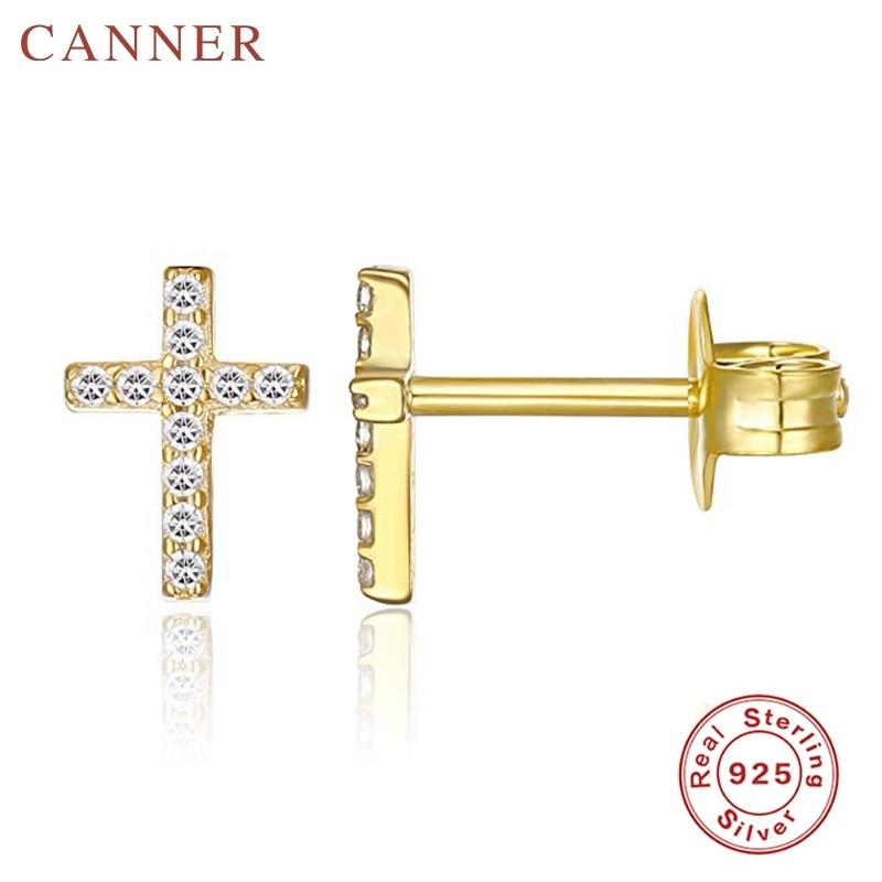 Minimalist 925 Sterling Silver Zircon Stud Earrings for Women INS Geometric Crystal Cross Gold Silver Earrings Fashion Jewelry