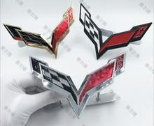 1pcs metal 3D car stickers auto emblem griil styling for Chevrolet Corvette body decoration Auto Accessories decal