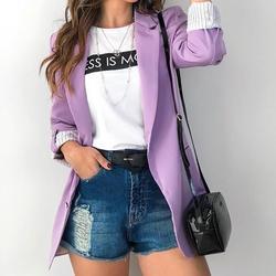 Женский однотонный офисный блейзер с длинными рукавами и отложным воротником, верхняя одежда для женщин, осенняя модная новинка, 6 цветов, т...