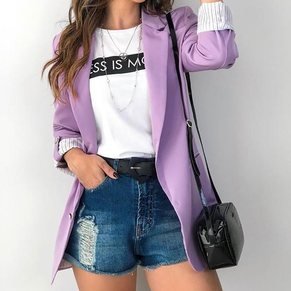 Women Ladies Solid Office Work  Blazer Long Sleeves Turn Down Collar Outerwear Female Autumn Fashion New 6 Colors Tops Purple