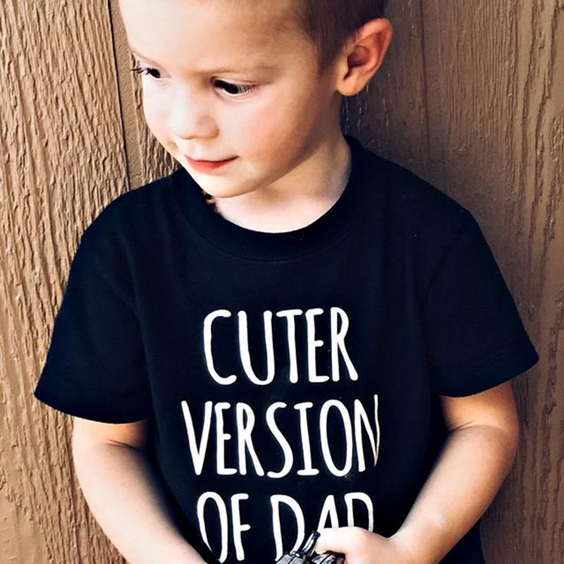 Summer Kids Tshirt Cuter Version of Dad Letters Printed Toddler Boy Girl Funny T-shirt Children Short Sleeve Casual Tees Tops
