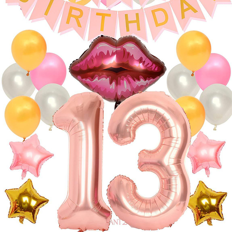 40inch Number 13 Birthday Party Banner Decoration Suit Rose Gold Lips Star Shaped Foil Balloons DIY 13th Birth Day Celebration