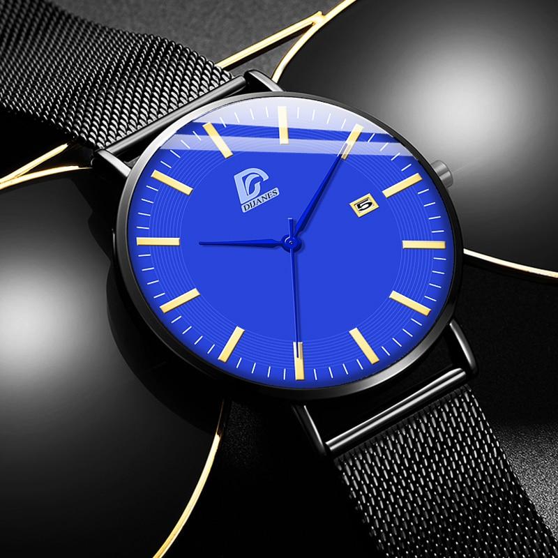 DIJANES Mens Fashion Business Minimalist Watches Ultra Thin Stainless Steel Mesh Belt Analog Quartz Wrist Watch Reloj Hombre
