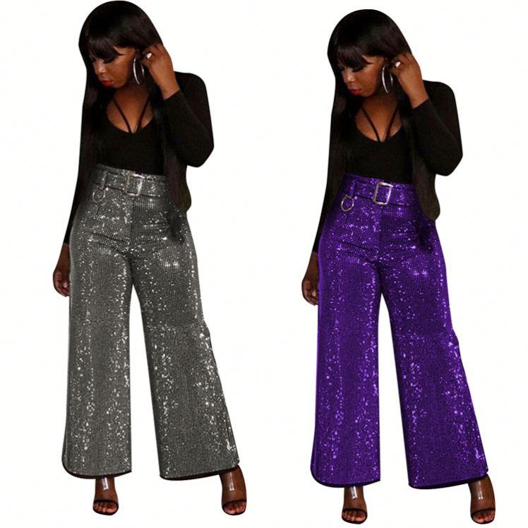 Fall And Winter Fashion Light Silk Mid Waist Belt Zipper Wide Leg Women Pants Skirts Clothing