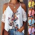 Женское платье, для весны и лета с цветочным принтом Футболка-топ с короткими рукавами и принтом леди с треугольным вырезом на шее с кружевн...