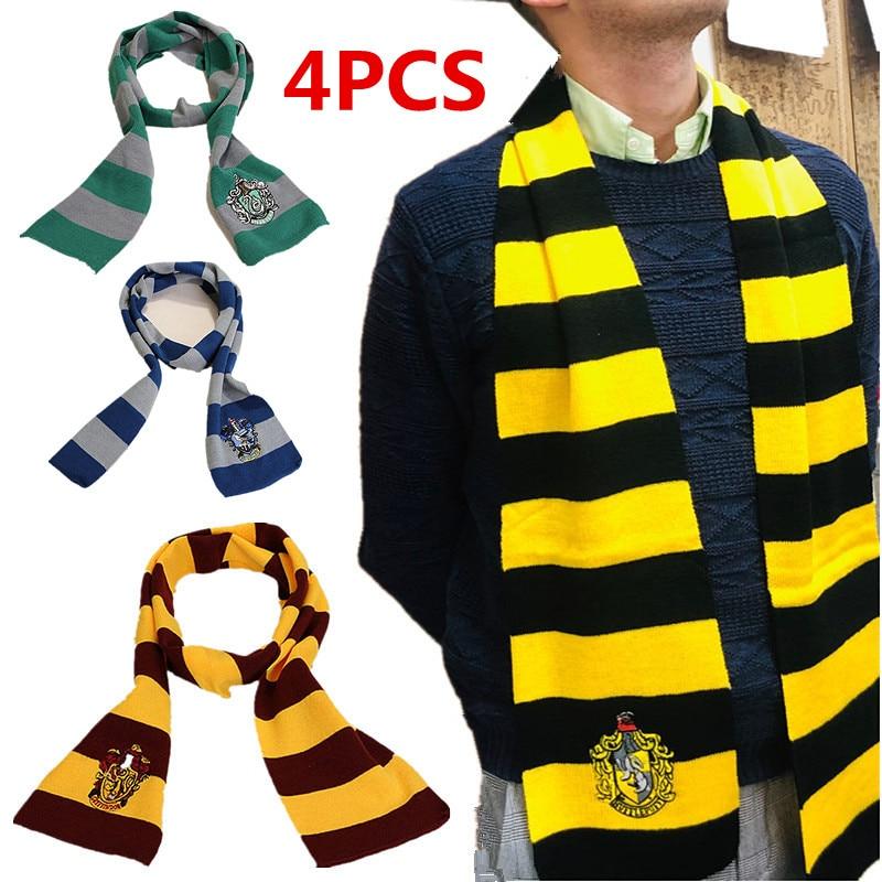 4Pcs Child&Adult Gryffindor/Slytherin/Hufflepuff/Ravenclaw Scarf Tie Hat / Glove Movie Cosplay Hero Academy Accessories Supplies
