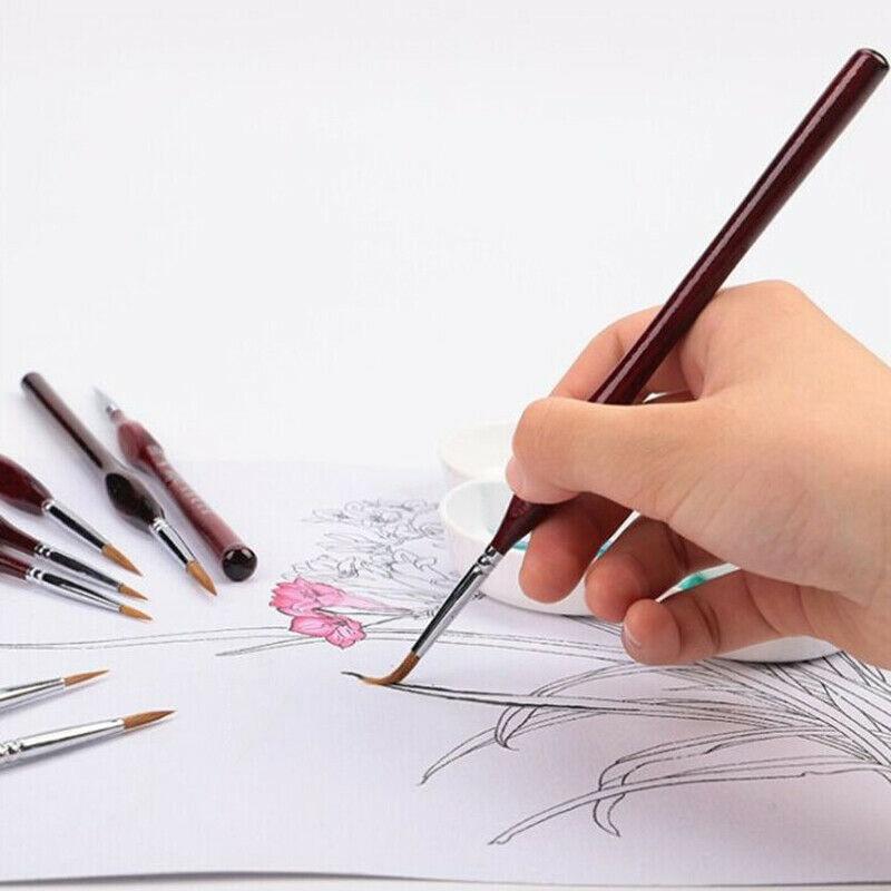 2019 Discount 9 Pieces / Set Of Micro Paint Brush Kit Professional Black Mane Detail Art Painting Model Tool SP99