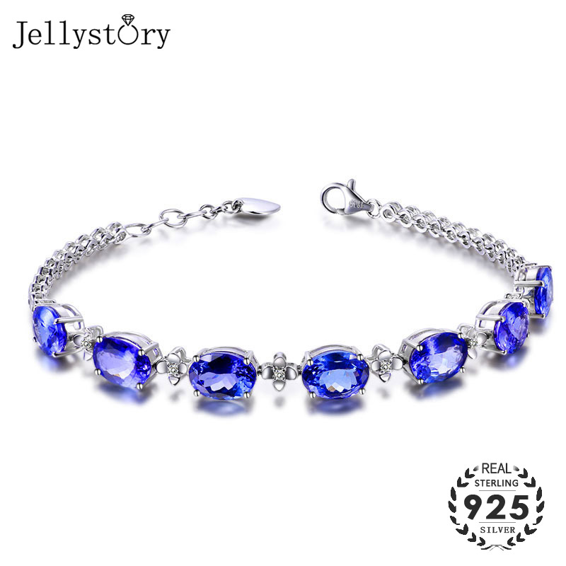 Jellystory Fashion 925 Sterling Silver Bracelet with Oval Shape Sapphire Gemstone Jewelry for Women Wedding Party Gift wholesale