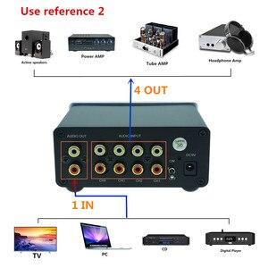 Image 5 - 4 (1) en 1 (4) sortie 4 voies entrée audio RCA signal câble séparateur sélecteur commutateur schalter Source connecteur distributeur boîte