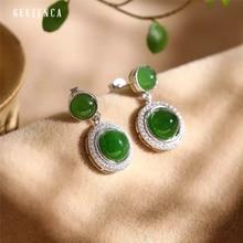 925 Sterling Silver Hetian Jasper Zircon Stud Earring Original Design Handmade Trendy Vintage Earrings  Fine Jewelry Women Gift