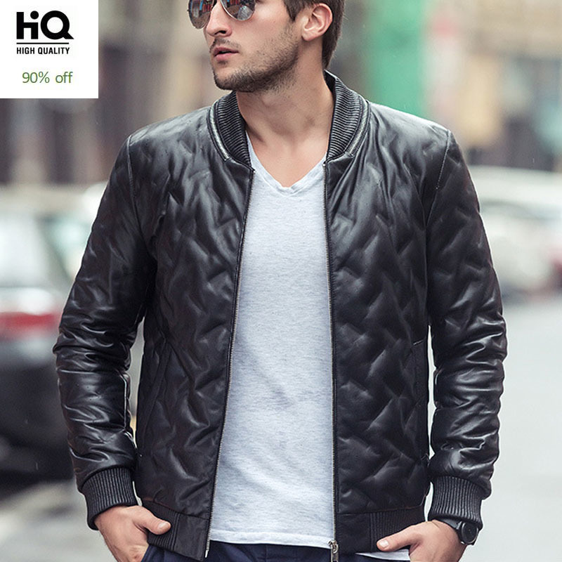New Genuine Leather Jacket For Men Winter Male Biker Jacket Black Leather Coat Zip Blouson Moto Homme Sheepskin Coat Men M-XXL