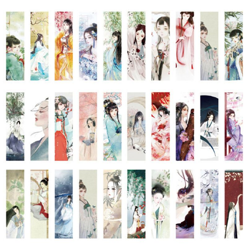 30pcs Beautiful Girl Bookmarks Paper Page Notes Label Message Card Book Marker School Supplies Stationery