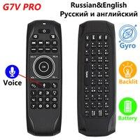 G7V PRO Hintergrundbeleuchtung Gyroskop Wireless Air Maus mit Russische Englisch tastatur 2,4G Smart Stimme Fernbedienung G7 gebaut-in Batterie