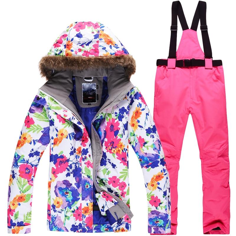 2019 New Women Ski Suit Super Warm Waterproof Ski Jacket Snowboard Pants Breathable Skiing Snowboarding Suits Outdoor Snow Suit