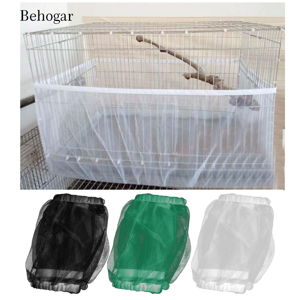 Behogar 17/20/33CM High Soft Ventilated Mesh Pet Bird Cage Net Seed Catcher Guard Cover Shell Skirt Decoration Bird Supplies