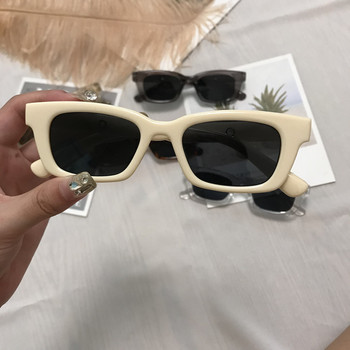 2021 New Women Rectangle Vintage Sunglasses Brand Designer Retro Points Sun Glasses Female Lady Eyeglass Cat Eye Driver Goggles - Beige