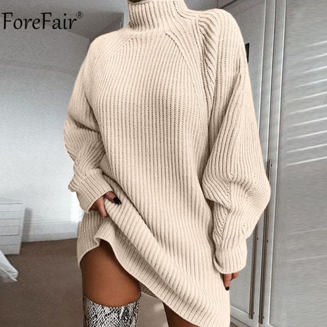 Forefair Turtleneck Long Sleeve Sweater Dress Women Autumn Winter Loose Tunic Knitted Casual Pink Gray Clothes Solid Dresses 2