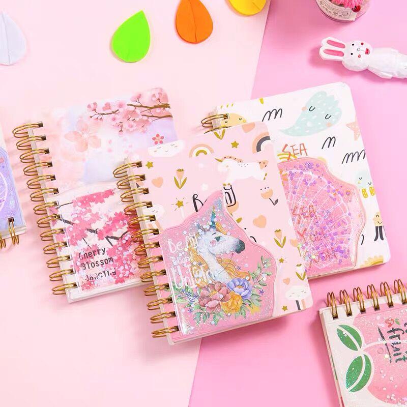2020 Sharkbang Kawaii Unicorn Golden Coil Spiral Notebook Bullet Journal Weekly Monthly Planner Sketchbook Agenda Stationery