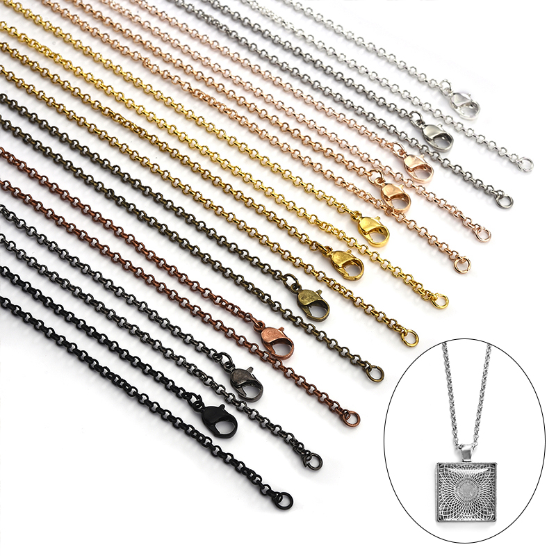 10pcs 55cm Metal Losster Clasps Necklace Chains Brass Bulk For DIY Jewelry Making Findings Supplies Cuban Link Chains Wholesale