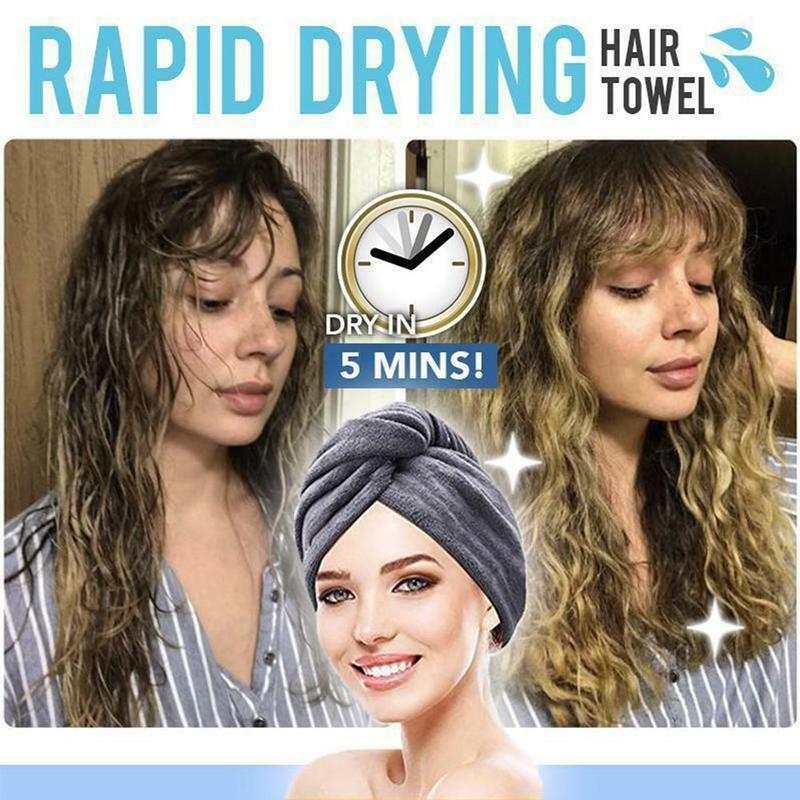 25x65cm Button Dry Hair Cap Magic Microfiber Hair Fast Drying Dryer Towel Bath Wrap Hat Quick Cap Turban Dry Dropship