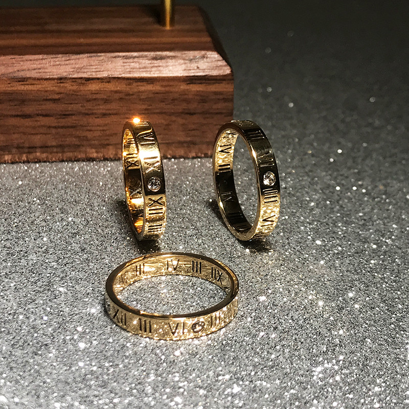 YUN RUO Fashion Zircon Roman Number Couple Ring Rose Gold Color Woman Gift Titanium Steel Jewelry Not Change Color Drop Shipping
